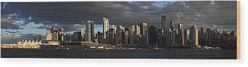 Vancouver City Sunset Panorama From Stanley Park Wood Print by Pierre Leclerc Photography
