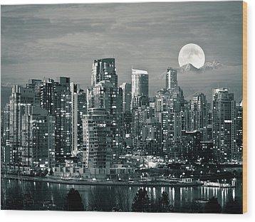 Vancouver Moonrise Wood Print by Lloyd K. Barnes Photography