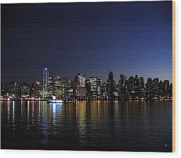 Vancouver Night Lights Wood Print by Will Borden