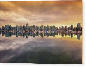 Wood Print featuring the photograph Vancouver Reflections by Eti Reid