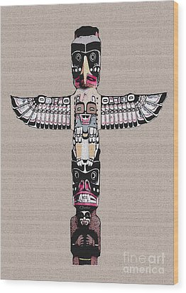Vancouver Totem - 4 Wood Print by Linda  Parker