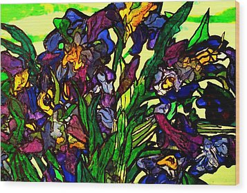 Vangogh Iris Montage In Focus Wood Print