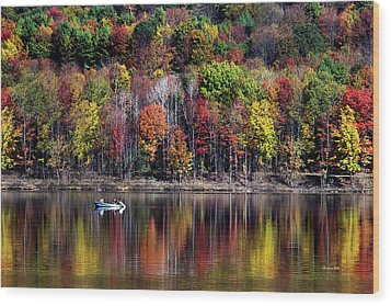 Vanishing Autumn Reflection Landscape Wood Print by Christina Rollo
