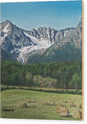 Wood Print featuring the painting Vanishing Glacier by Stanza Widen