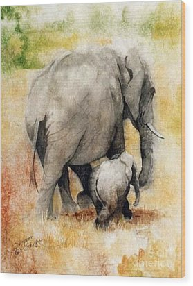 Vanishing Thunder Series - Mama And Baby Elephant Wood Print by Suzanne Schaefer