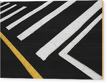 Wood Print featuring the photograph Vanishing Traffic Lines With Colorful Edge by Gary Slawsky