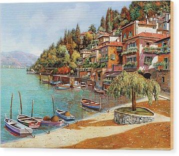 Varenna On Lake Como Wood Print by Guido Borelli