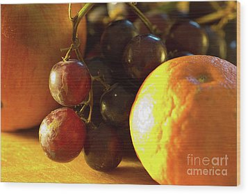 Various Fruit Wood Print by Brian Roscorla