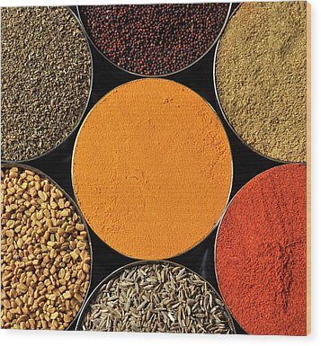 Various Kind Of Spices Wood Print by PKG Photography