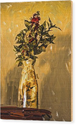 Wood Print featuring the digital art Vase And Flowers by Dale Stillman