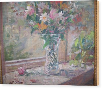 Vase And Flowers In Window Sill. Wood Print by Bart DeCeglie