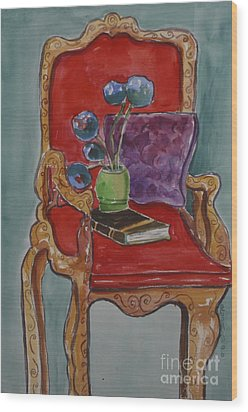Vase Book And Chair Wood Print