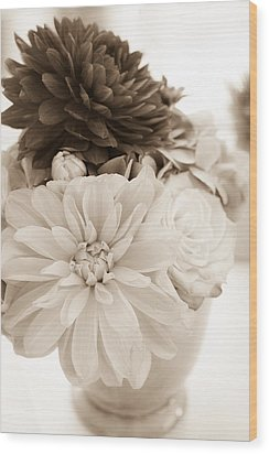 Vase Of Flowers In Sepia Wood Print