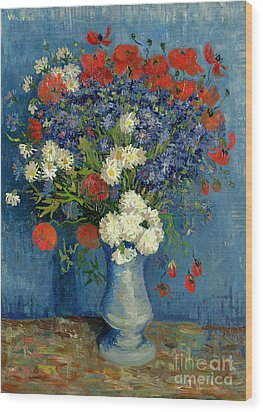 Vase With Cornflowers And Poppies Wood Print by Vincent Van Gogh