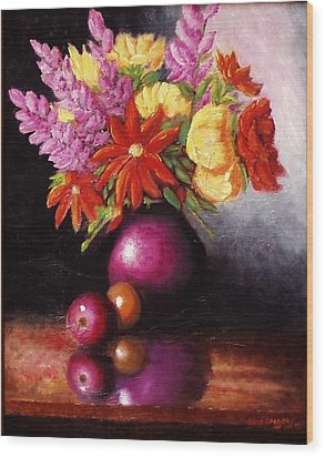Wood Print featuring the painting Vase With Flowers by Gene Gregory