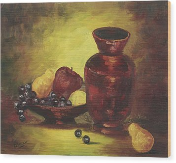 Wood Print featuring the painting Vase With Fruit Bowl by Rebecca Kimbel