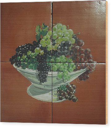 Vase With Grapes Wood Print by Andrew Drozdowicz