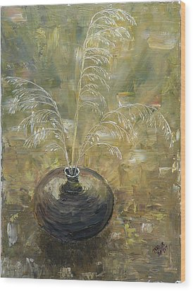 Vase With Wheat. Wood Print by Mila Ryk