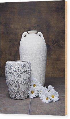Vases With Daisies I Wood Print by Tom Mc Nemar