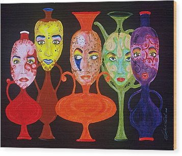Vases With Faces Wood Print by Shellton Tremble