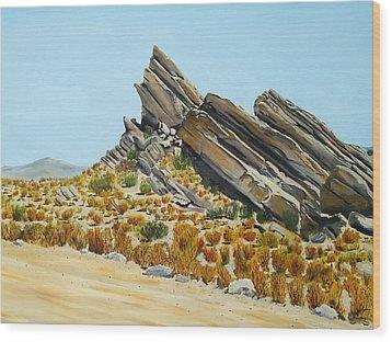 Vasquez Rocks Looking South Wood Print by Stephen Ponting