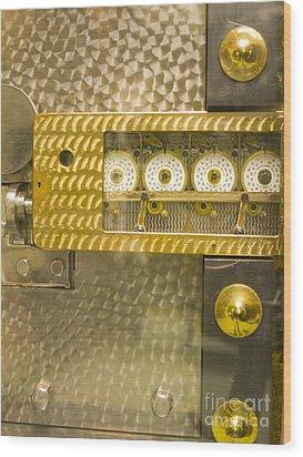 Vault Door Timing Device Wood Print by Adam Crowley