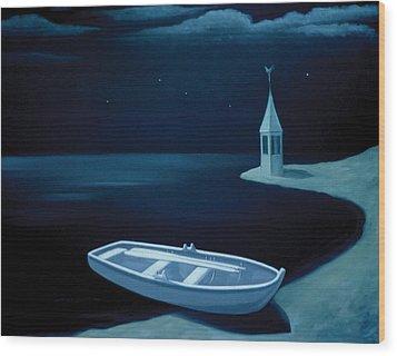Wood Print featuring the painting Ved Bredden by Tone Aanderaa