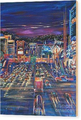 Vegas Lights Wood Print by Li Newton