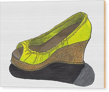 Vegas Shoes Wood Print by Jean Haynes