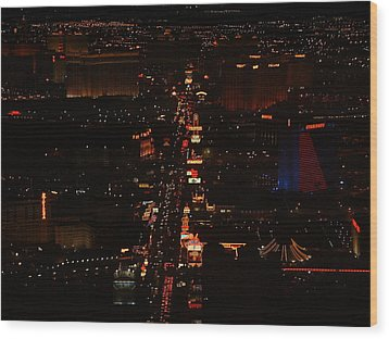 Vegas Strip Wood Print by D R TeesT