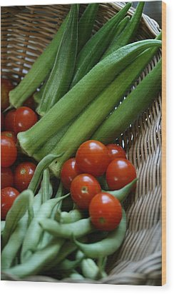 Vegetable Basket Wood Print by Karen Fowler