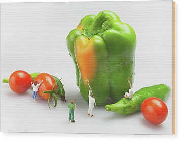 Wood Print featuring the painting Vegetable Painting Little People On Food by Paul Ge