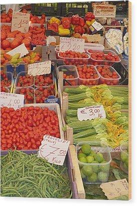 Vegetables At Italian Market Wood Print by Carol Groenen