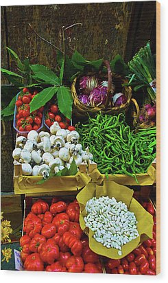 Vegetables In Florence Wood Print by Harry Spitz