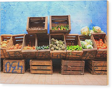 Wood Print featuring the photograph Veggies And The Blue Wall by Ramona Johnston