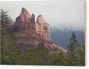 Wood Print featuring the photograph Veiled In Clouds by Phyllis Denton