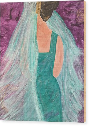 Wood Print featuring the painting Veiled In Teal by Annette McElhiney