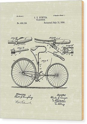 Velocipede 1890 Patent Art Wood Print by Prior Art Design