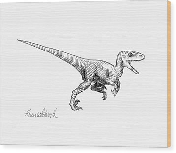 Wood Print featuring the drawing Velociraptor - Dinosaur Black And White Ink Drawing by Karen Whitworth