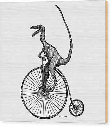 Velociraptor Wood Print by Karl Addison