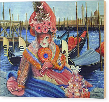 Venetian Carneval Mask With Gondolas Wood Print