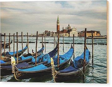Venetian Gondolas Wood Print by Andrew Soundarajan