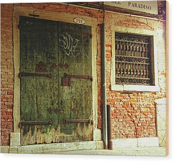 Wood Print featuring the photograph Venetian Graffiti by Anne Kotan