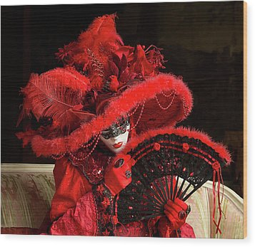 Venetian Lady In Red I  Wood Print