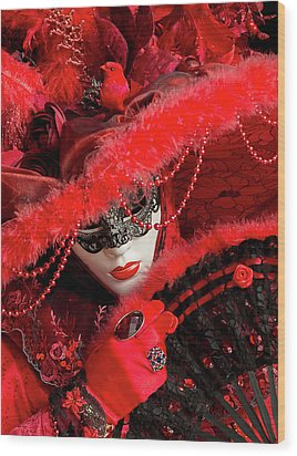Venetian Lady In Red II  Wood Print