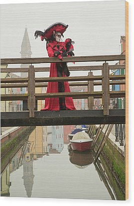 Venetian Lady On Bridge In Burano Wood Print