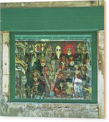 Wood Print featuring the photograph Venetian Masks by Anne Kotan