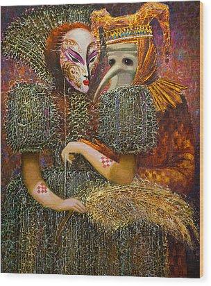Venetian Masks Wood Print