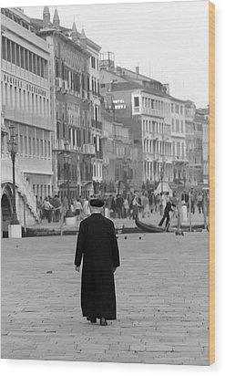 Venetian Priest And Gondola Wood Print by KG Thienemann