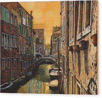 Venezia Al Tramonto Wood Print by Guido Borelli
